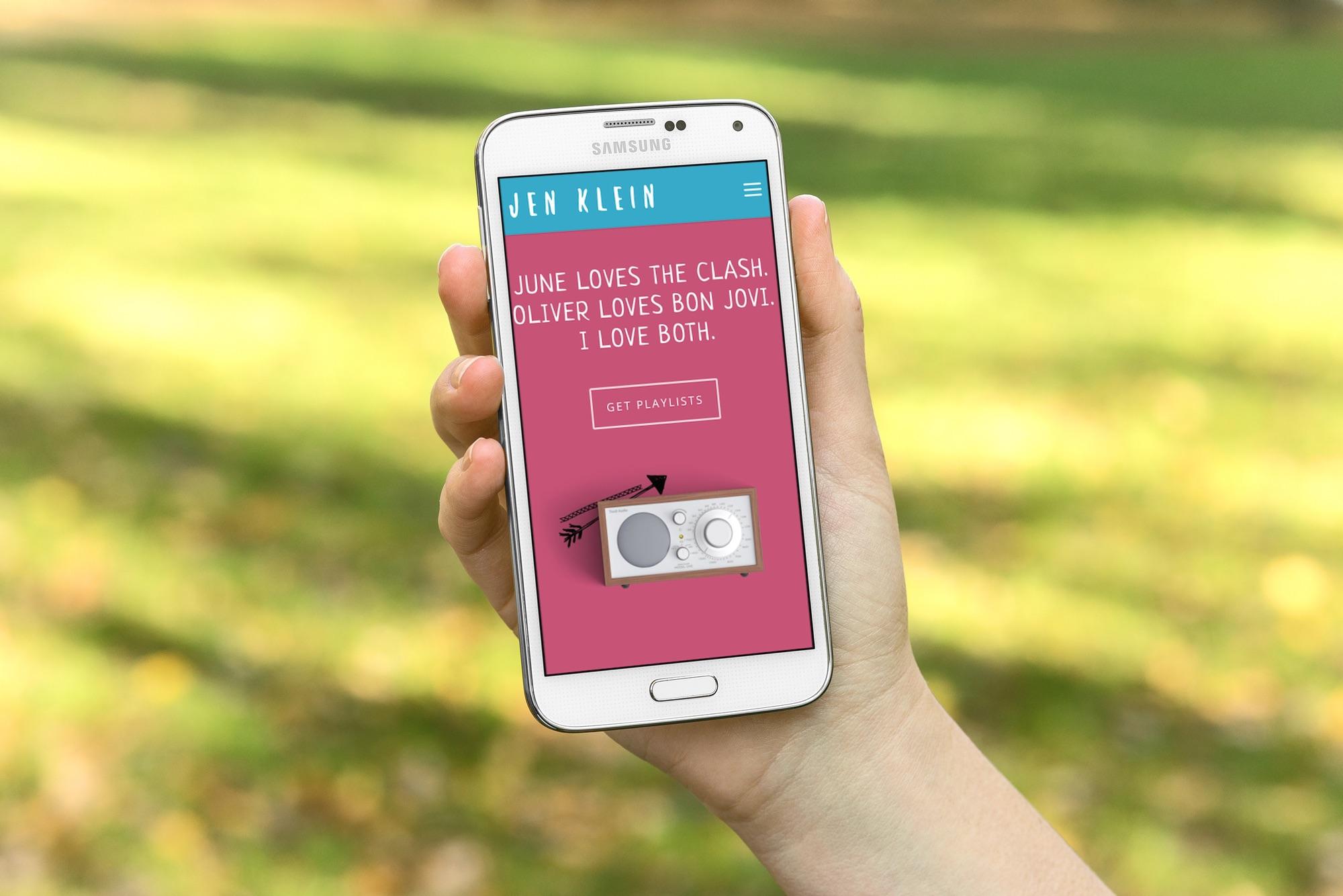 Jen Klein Website on Mobile